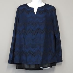 The Limited Navy blue black textured blouse
